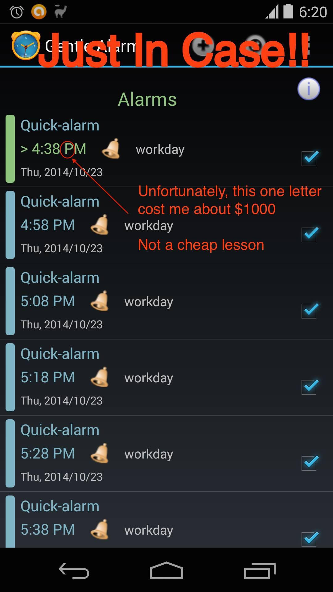 Screenshot of failed alarm