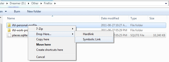 Screenshot of creating symbolic link using Link Shell Extension