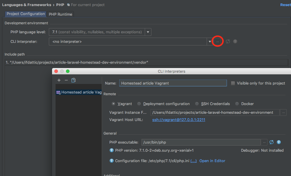 Screenshot of development environment configuration in PhpStorm